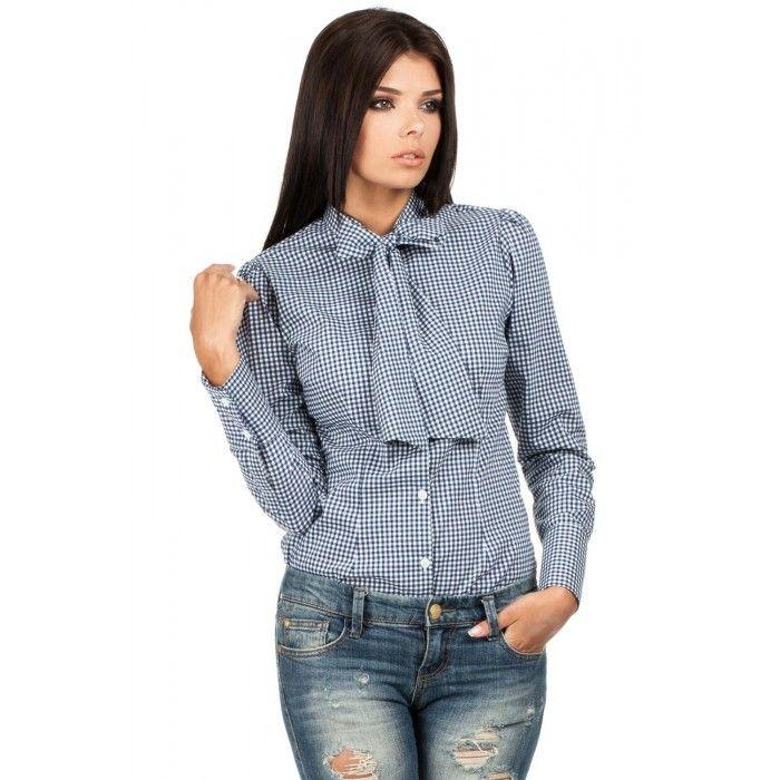 Moe – krásna modrá kockovaná slim košeľa s mašľou MOE089 | Iman