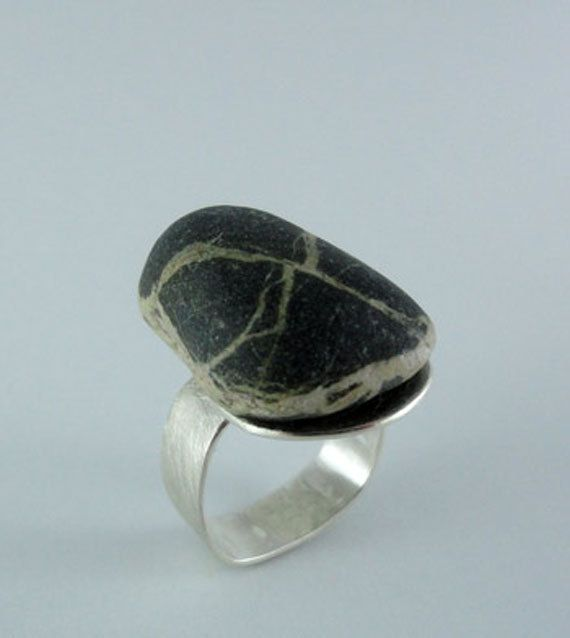 Black Pebble Ring one of a kind by umobo on Etsy, $98.00