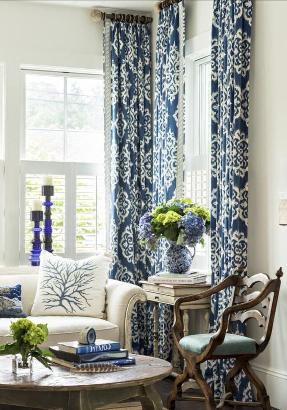 Blue Ikat Curtains Blue White Curtains Navy Drapes Curtains Custom