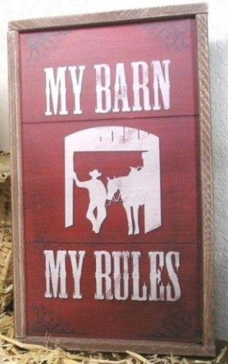 Country Decor Western Decor My Barn My Rules Western Horse Barn Sign
