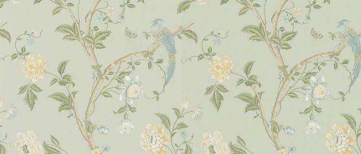 Summer palace eau de nil floral wallpaper floral for Eau de nil bedroom ideas