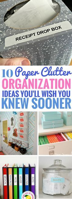 These Paper Clutter Storage Ideas works wonders! So many fantastic ways to organize paper and get rid of clutter the easy way. Definitely going to be trying the drop box and filing system soon.