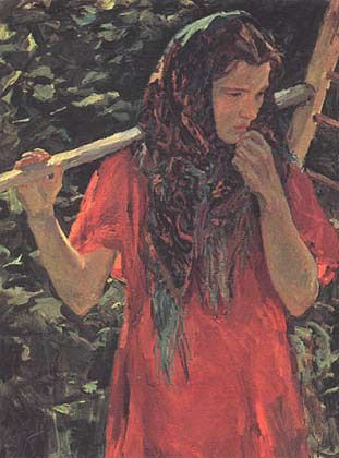 Chica con rastrillo (Девушка с граблями, s/f) Arkady Alexandrovich Plastov (Аркадий Александрович Пластов. Unión Soviética. Rusia, 1893-1972)