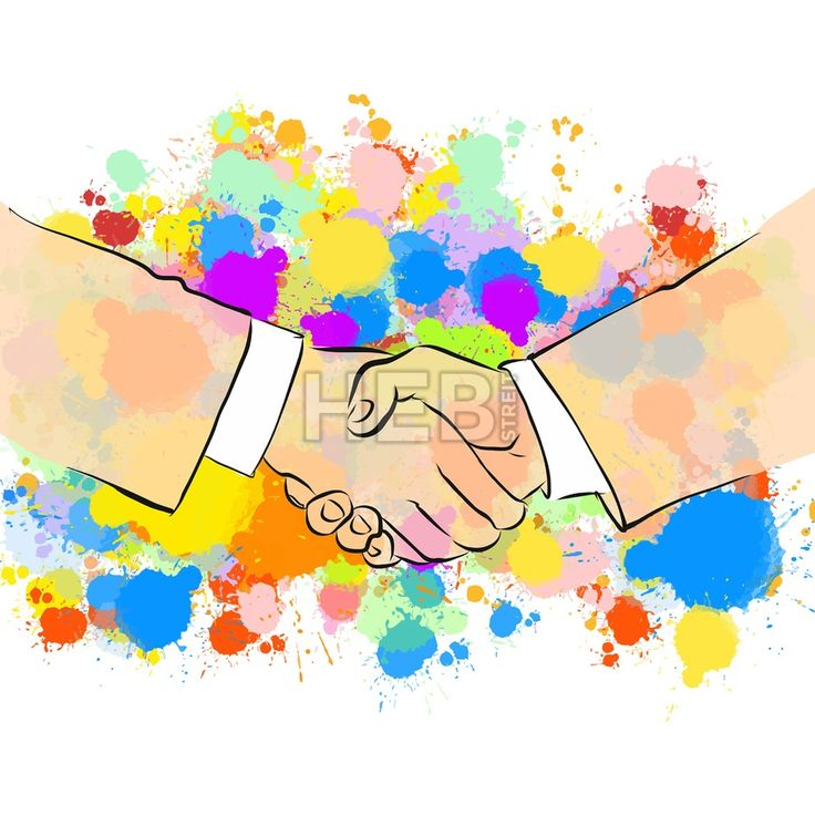 Business Handshake with Colorful Background. Hand Drawn Vector Illustration, Splatter Color Isolated on White Background. Creative  Communication Conc... ... #vector #people #sign #sketch #poster #colorful #marketing #illustration #art #hebstreit