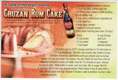 Postcard Recipe Cruzan RUM CAKE from the Virgin Islands - My Stepmom just sent this to me - Can't wait to try!
