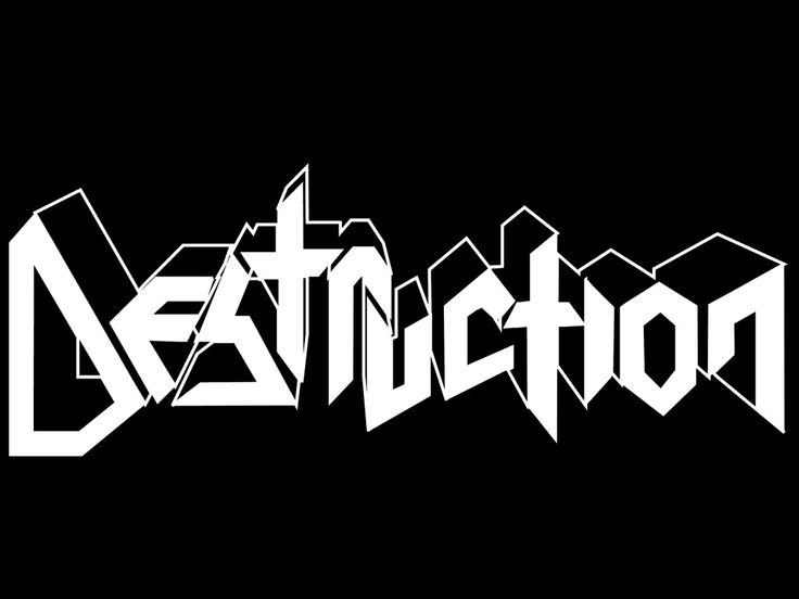 The Beauty and Total Illegibility of Extreme Metal Logos | Riddick says Destruction's use of a 3-D element infers speed and power.. | Credit: Mark Riddick/Logos From Hell | From Wired.com