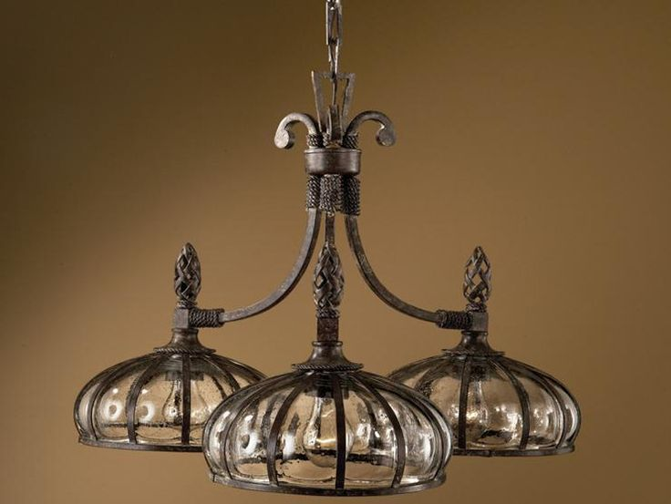 Galeana Tuscan Mediterranean Vintage Style 3 Light Glass Chandelier Bronze New