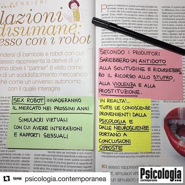 """#Repost @psicologia.contemporanea ・・・ Il diffondersi di bambole e robot con cui fare sesso rappresenta la deriva di un erotismo dove il """"partner"""" è visto come oggetto di un soddisfacimento meccanico anziché come un universo autonomo con il quale interagire.  Ce ne parla Silvia Bonino nell'articolo RELAZIONI DISUMANE: IL SESSO CON I ROBOT. Lo trovi nel numero di gennaio-febbraio di Psicologia Contemporanea.  Abbonati qui:https://goo.gl/4Di8sV"""