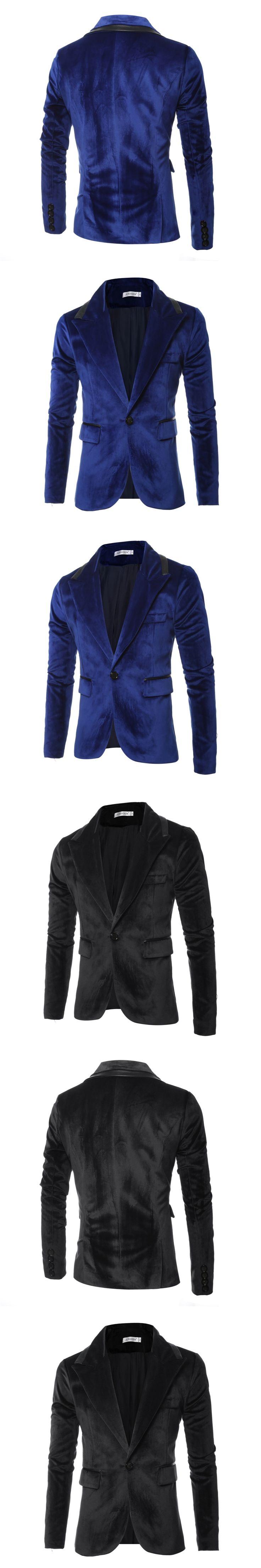 Hot Sale 2017 Mens Blazer Slim Fit Suit Jacket  Velvet Spring Autumn Outwear Coat Suits For Men M~3XL