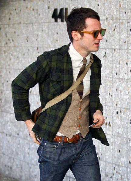 : This Man, Elijah Wood, Men Clothing, Plaid Blazers, Colors Mixed, Men Style, Nerd Chic, Men Fashion, Plaid Jackets