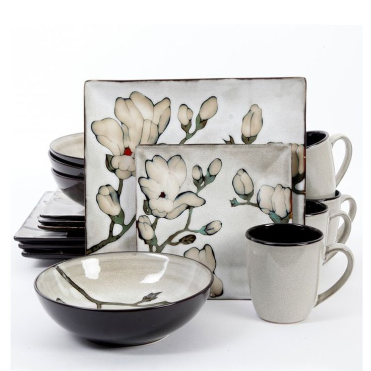 Claretta 16 Piece Dinnerware Set. With a unique square shape and a grey reactive glaze, this Clarette 16 piece ceramic dinnerware set is perfect for any occasion.16 Piece Dinnerware Set Includes:* 4 - 10.75in Dinner Plates* 4 - 7.7in Dessert Plates* 4 - 6in Bowls* 4 - 13oz MugsFinish: The original artistry of the reactive glaze finishing technique produces differences in color, size, and texture, ensuring no two pieces are ever alike.
