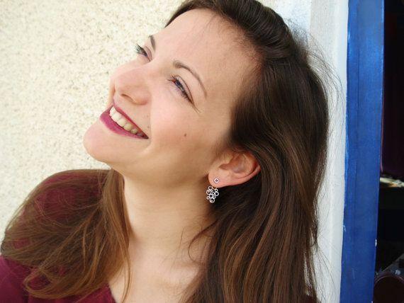 Ghristmas Gift for her- Black Friday Sales -Geometric Ear jacket earrings- Front Back Earring-Two Tone Bubbles Silver Earrings-Back Ear Cuff