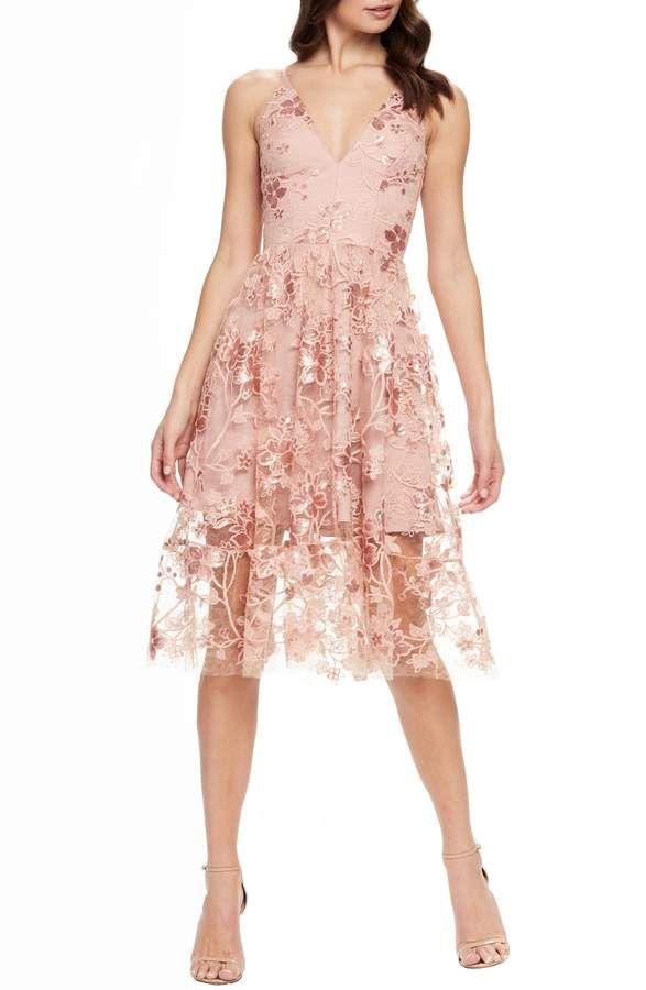 fffd0ea3afe7c Women's Dress The Population Ally 3D Floral Mesh Cocktail Dress ...