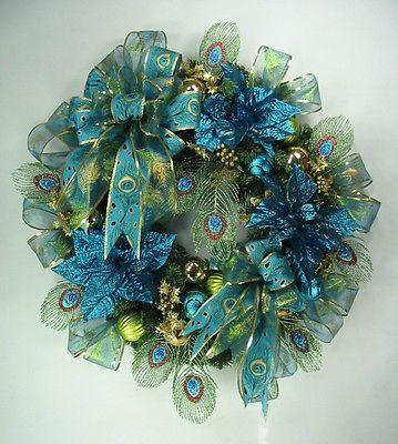 Peacock Blue Christmas Wreath By Ed The Wreath Guy