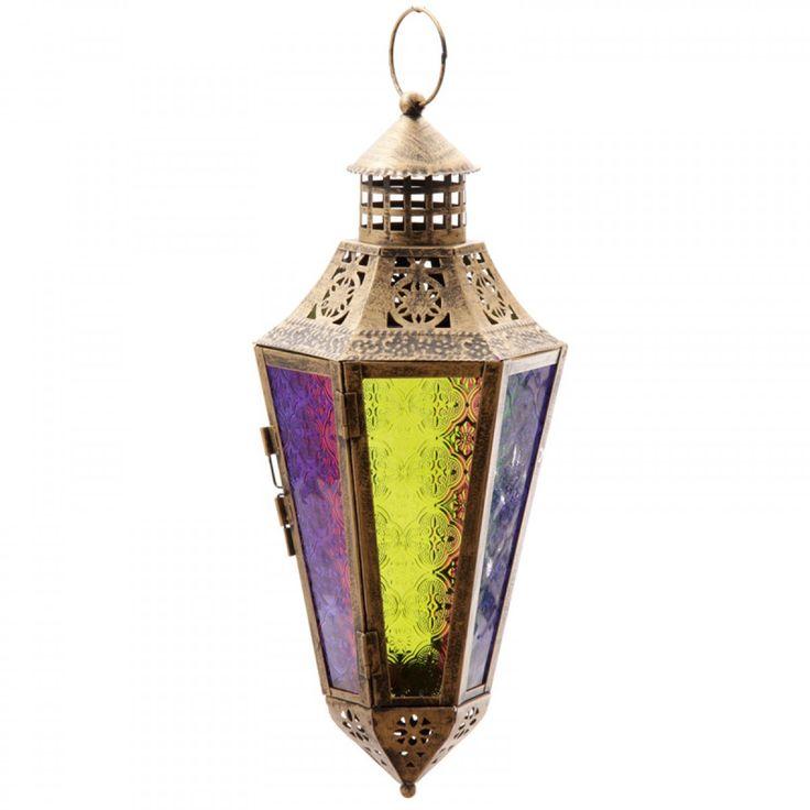 Spitse Marokkaanse stijl Lantaarn met gekleurd glas