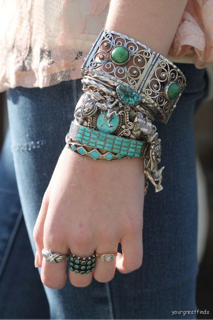 Shy girl loves to mix her vintage jewelry and stack those bracelets.