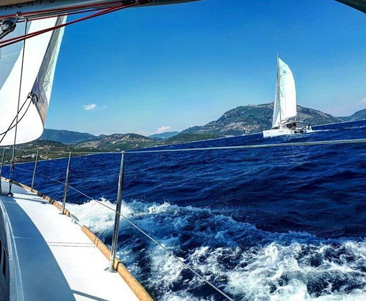 Guess who won the race  Our SailChecker @kate_io #sailing in Lefkada Greece.  #doingsomethingamazingwithsailing. www.sailchecker.com #justdoit