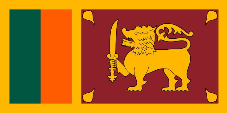 The Sri Lanka flag was officially adopted on December 17, 1978. Prior to 1815, the gold lion was originally the national flag of Ceylon; its four pipul leaves are Buddhist symbols and the sword is said to represent authority. On this modern version, the green represents Muslims, while the orange represents Hindus.