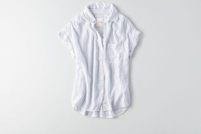 AEO Short Sleeve Button Down Shirt  by  American Eagle Outfitters | Made to feel washed and worn like your go-to shirt. This is where style meets comfort.  Shop the AEO Short Sleeve Button Down Shirt  and check out more at AE.com.