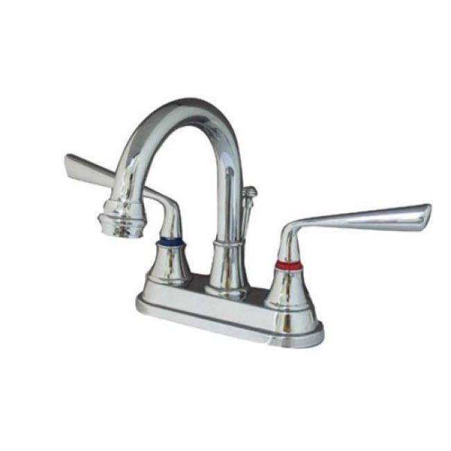 "Kingston Silver Sage Chrome 4"" Centerset Bathroom Faucet W Drain KS3661ZL"
