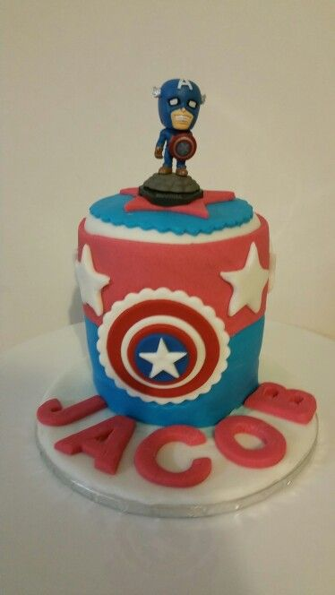 My little boy's 3rd bday cake - Captain America