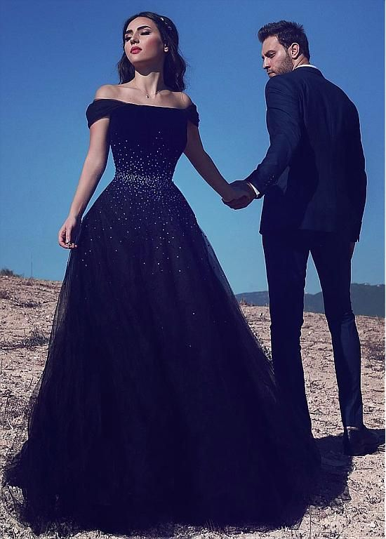 Buy discount Gorgeous Tulle Off-the-shoulder Neckline Floor-length A-line Prom Dresses With Beadings at Dressilyme.com