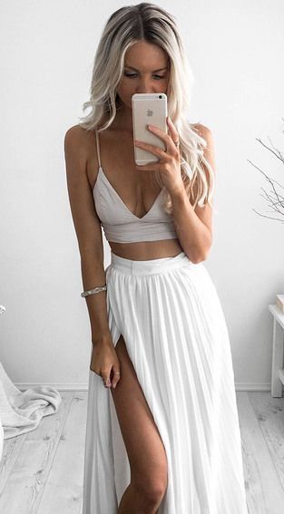 Blush Spaghetti Strap Low  V neck Top, White Hugh Slit Maxi Skirt