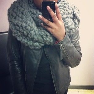 Knits and leather for Sunday. Snag this grey wool infinity scarf and lamb leather jacket on clearance! #ootd