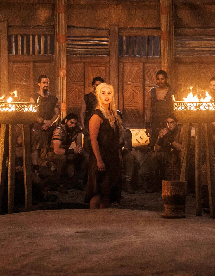 Daenerys -Calmly, Coolly, Confronts and Commands the Dothraki Warlord Males that SHE is the ONE to Lead the Dothraki Hordes - They Scoff, Laugh, and Threaten her with Gang Rape - SHE BURNS the HOUSE DOWN with them in it and walks out the inferno unscathed. Daenary's is a Demi-Goddess!