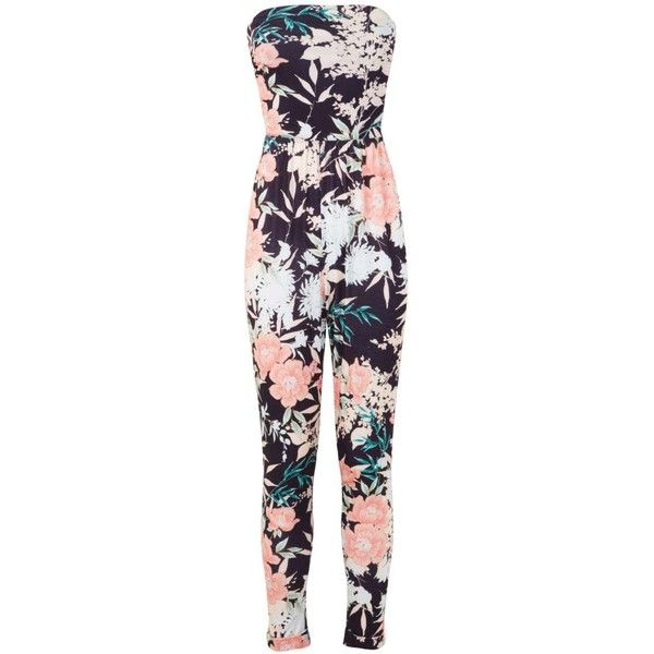 Miss Selfridge Tropical Floral Jumpsuit ($18) ❤ liked on Polyvore featuring jumpsuits, dresses, rompers, assorted, floral print jumpsuit, miss selfridge, cut out jumpsuit, cut out romper and floral romper