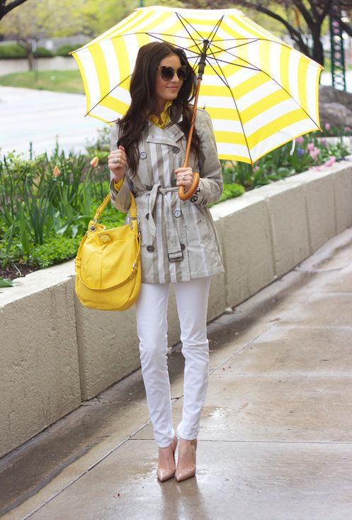 Sun Rain - Marc by Marc Jacobs Hillier Hobo: Yellow Umbrellas, Street Style, April Shower, Rainyday, White Pants, Pinkpeoni, Rainy Days, Rainy Day Outfit, Pink Peonies