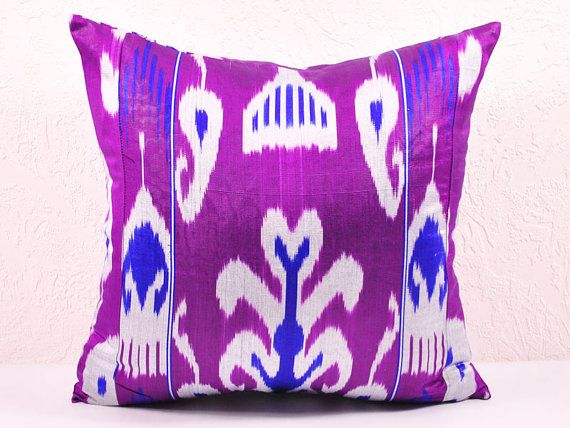 color 2014 - PURPLE IKAT Pillow covers- Decorative purple pillow covers - throw pillows A537-1AA3