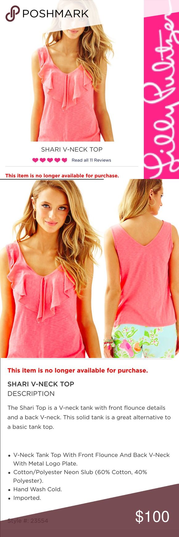 XL NWT Lilly Pulitzer Shari Top - Hot Coral XL Lilly Pulitzer Shari Top - Hot Coral. OUT OF STOCK item! Gorgeous top!!! BNWT in original packaging. Model image and item description courtesy of Lilly website, actual item shown. NO TRADES, PRICE FIRM, NO discussion of price in comments (sold out item - no offers, price is firm). Thanks for shopping my closet! 💞 Note: Not eligible for bundle discount Lilly Pulitzer Tops
