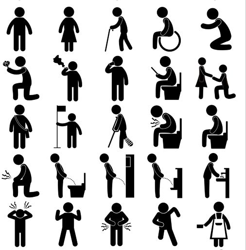 Pictogram depicting people people doing everyday activities.