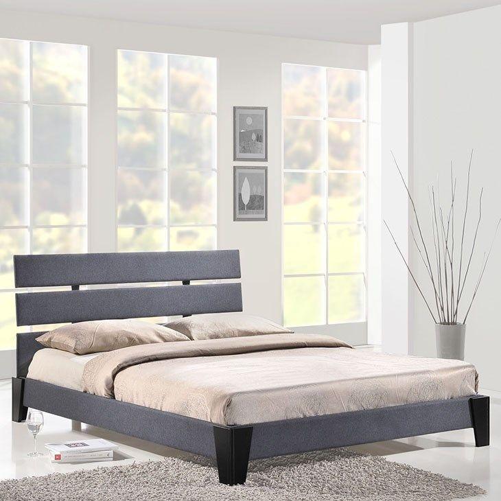 Zoe Queen Fabric Bed in Gray
