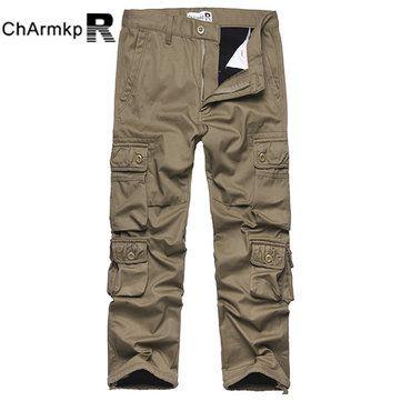 d4b4b0ddd6839 Charmkpr Mens Winter Polar Fleece Lined Warm Trousers Multi-Pocket Straight Cargo  Pants