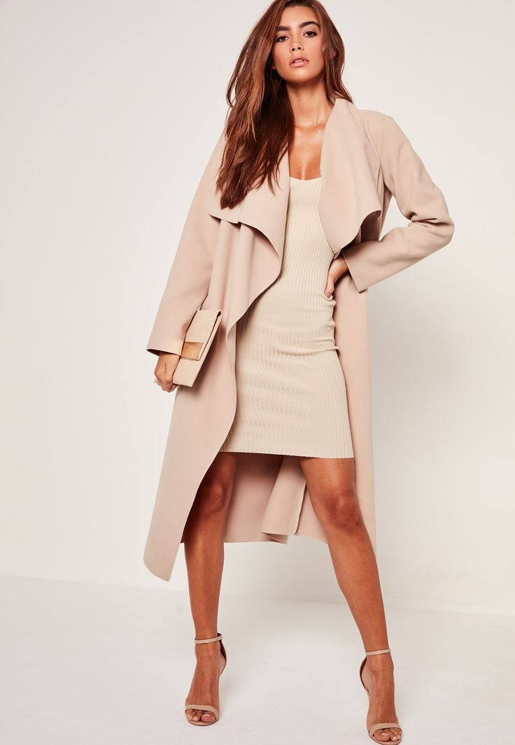 Missguided - Oversized Waterfall Duster Coat Nude