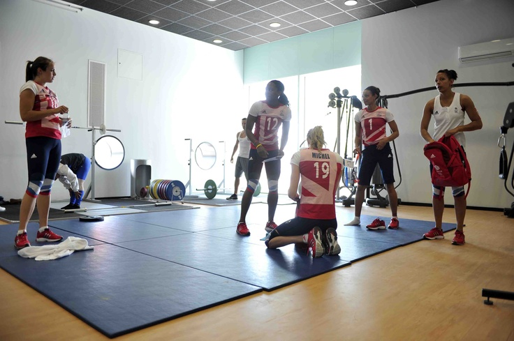 GB Volleyball Team training in the Olympic Village Gym!