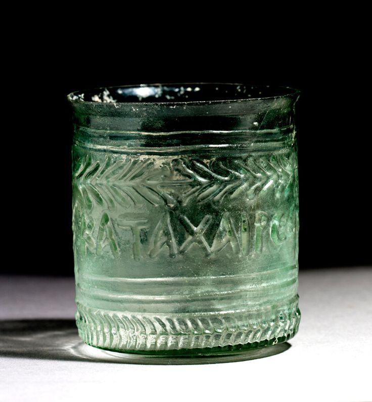 Roman Inscribed Glass Beaker, 1st century A.D.   Work of art   Phoenix Ancient Art S.A