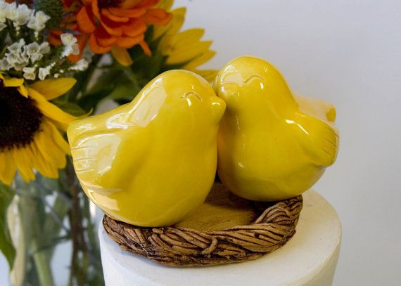 Yellow Love Bird Cake Topper by danceswithclay on Etsy, $50.00