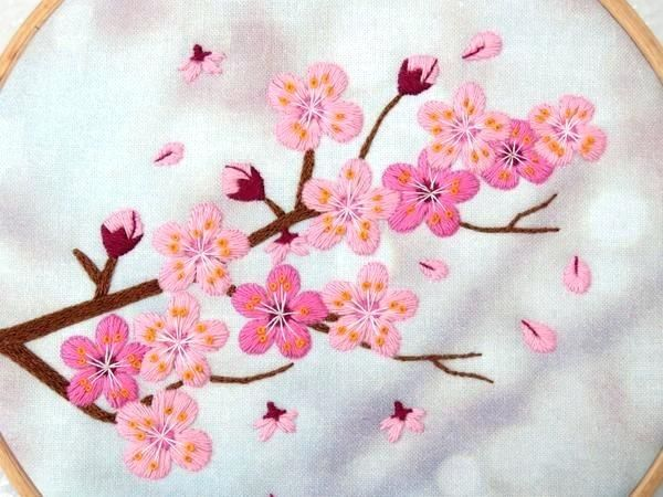 Cherry Blossom Embroidery Cherry Blossom Tree Embroidery Design Sulaman Menjahit Sulaman Tangan