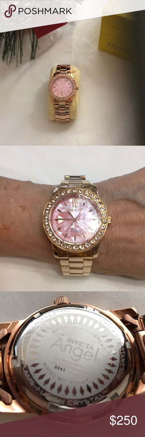 Invicta Angel Morganite Limited Edition Watch Invicta Angel Morganite Limited Edition Watch.  0241/1000. Model 15861, Rose gold. Water resistant 50m, flame fusion crystal, Swiss quartz movement. Case size 38mm. Works perfect. Absolutely beautiful.  MSRP $1995. Like new, in box. Invicta Accessories Watches