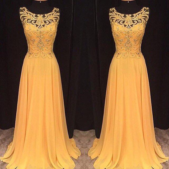 Prom Dress,Sexy Prom Dress, Yellow Prom Dresses,Vintage Yellow