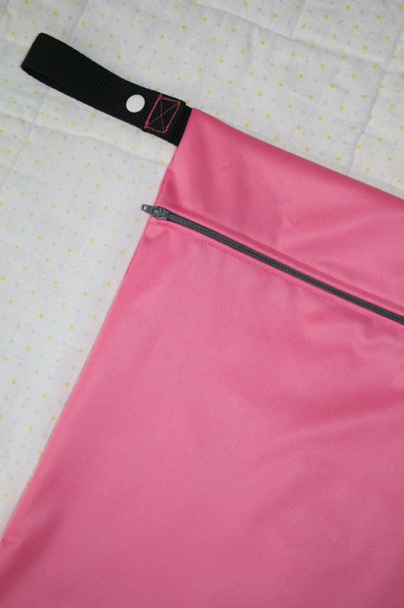 Ladies Gym Bag  11x14 Pink Wet Bag  Reusable Washable by WetBagIt, $13.99