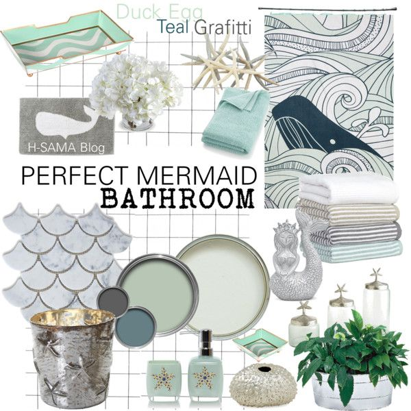 PERFECT MERMAID Bathroom by hsama on Polyvore featuring interior, interiors, interior design, home, home decor, interior decorating, DwellStudio, West Elm, Crate and Barrel and Flamant