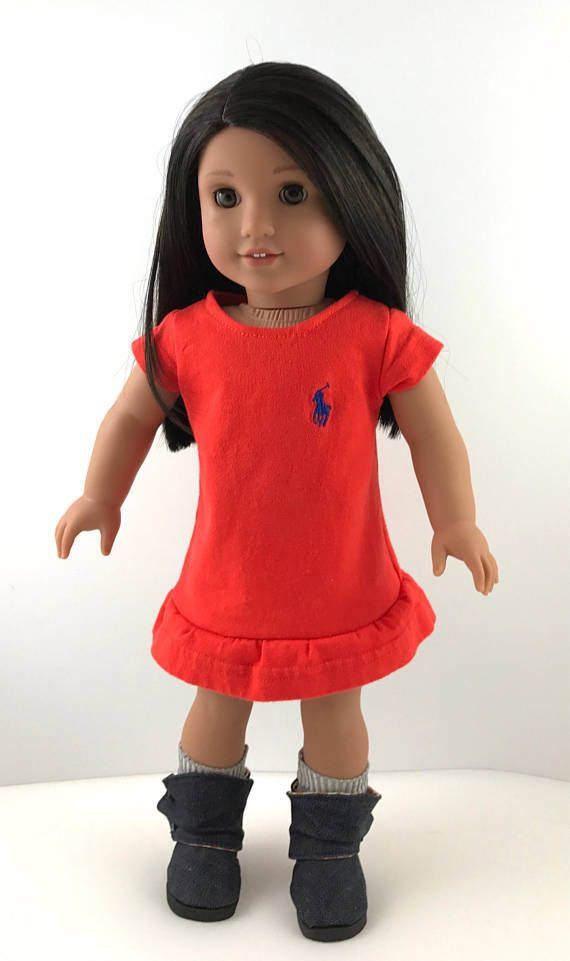 """Upcycled Ralph Lauren, polo, t-shirt dress, ankle booties, socks, 18"""" doll clothes, denim, orange, blue, Tigers, Clemson, gift for girl"""