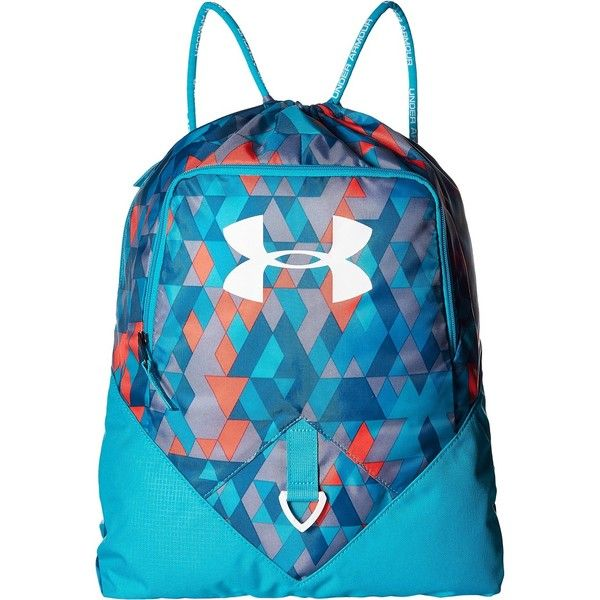 5b8808614d8 Under Armour UA Undeniable Sackpack (Pacific/Peacock/White) Day Pack...  ($20) ❤ liked on Polyvore featuring bags, blue, zipper bag…