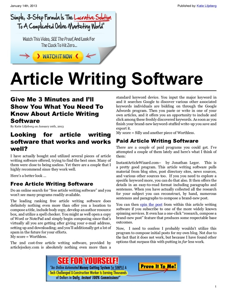 Article writing software