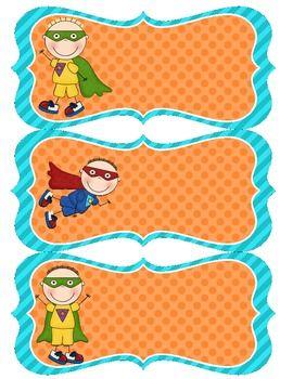 Superhero Name Tags - Blue & Orange