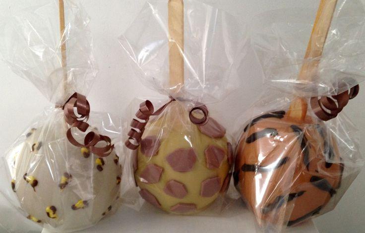 Maçãs do amor de chocolate tema Safari #maçãdoamor #maçãdechocolate #maçãdecorada #safari